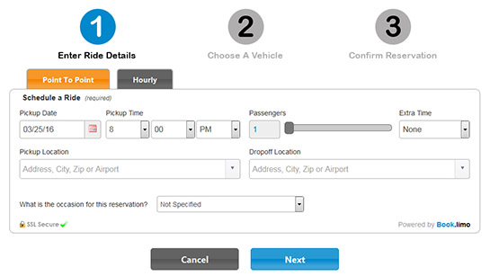 Book.limo On-site Booking Widget - Step 1