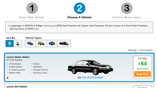 Book.limo On-site Booking Widget - Step 2
