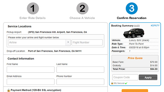 Book.limo On-site Booking Widget - Step 3